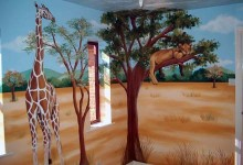 Children's mural of safari animals