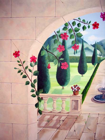 Trompe l oeil mural of tuscany painted in a conservatory - Deco trompe l oeil mural ...
