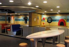 Mural of a 'surf shack' painted on cruise ship Thomson Spirit