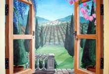 Trompe L'oeil mural of a window looking out to Tuscany