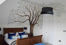 Blossom tree mural in teenager's bedroom