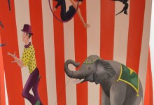 Circus mural in children's playroom