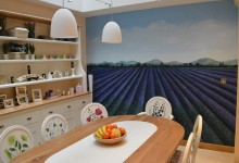Lavender field mural and dining room chairs painted for kitchen/diner