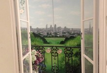Trompe l'oeil window of London