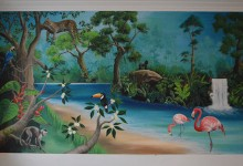 Rainforest mural painted in a girl's bedroom