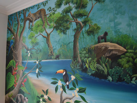 rainforest mural painted in a girl s bedroom