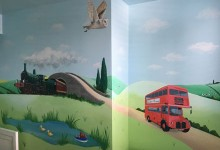 Transport themed mural in a boy's bedroom