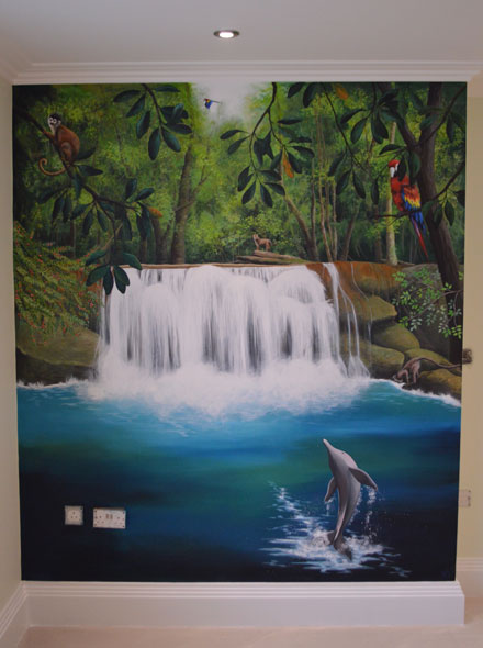 Jungle And Waterfall Mural Painted In Boy S Bedroom