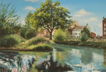Painting on canvas of Barnes Pond, London