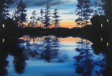 Painting on canvas of a view in Sweden