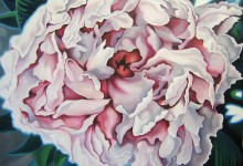 Painting on canvas of a Peony