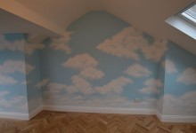 Cloud mural in a playroom
